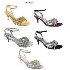 las womens kitten heel diamante wedding bridal bridesmaid sandals size 3 9 s8
