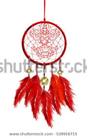 Chinese Dream Catcher Cool Realistic Painting Red Dream Catcher Hanging Stock Illustration