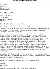 Mechanic Cover Letter Examples Letter Needs To Be Professional And