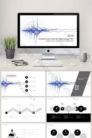 Sci Ppt Creative Line Internet Sci Tech Style Proposal Business Ppt