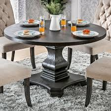 room tables furniture of america lucena antique black wood traditional farmhouse style pedestal base round dining