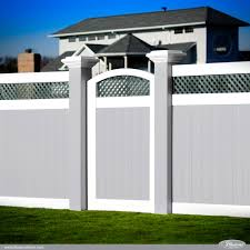 incredible gray white pvc vinyl fence panels with green lattice an arched accent illusions vinyl fence dealers c54