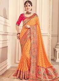 Designer Wear Sarees In Hyderabad Mustard Embroidery Thread Lace Border Work Designer Party