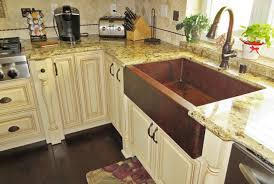 Kitchen Sinks For Granite Countertops Kitchen Designed With Copper Kitchen Sink And Granite Countertops