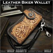 harley style biker wallet trucker hand carved wallet for motorcycle