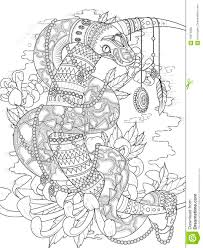 Small Picture Mysterious Snake Adult Coloring Page Stock Illustration Image