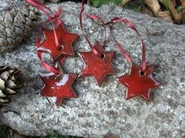 Keramik Sterne 4er Set Weihnachten Christbaumschmuck In