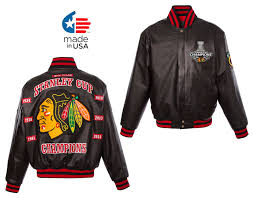 chicago blackhawks handmade 6 time stanley cup championship napa leather jacket by jh designs