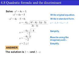 4 8 quadratic formula and the discriminant solve x 2 4x 5