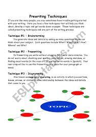 Prewriting Techniques Prewriting Techniques Esl Worksheet By Minellpena