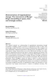Pdf Antenarratives Of Organizational Change The