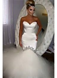 2017 sweetheart fishtail wedding dresses sparkly crystals puffy