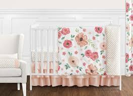 perless peach green shabby chic watercolor fl baby girl crib bedding watercolorfl pc gr 11 boho
