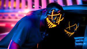 593491 neon, mask, hd, 4k, photography ...