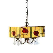 rosy 3 light bronze tiffany style and crystal indoor hanging lamp with shade