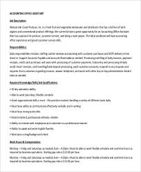 9+ Sample Accounting Assistant Job Descriptions   Sample Templates