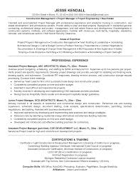 Sample Project Manager Resume Objective Resume Templates Construction Project Manager For Experienced One 43