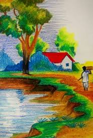 scenery drawing painting painting and drawing ideas scenery easy landscape painting for kids