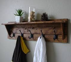 Wall Mounted Coat Rack With Hooks And Shelf Modern Rustic Entryway Mail Key Organizer Hanger hooks Coat racks 100