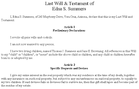 example short form example document for short form last will