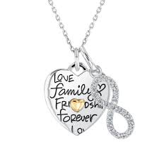 love family friendship heart and diamond infinity pendant necklace