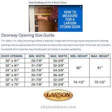 Larson Storm Door Size Chart Rough Opening For Larson Storm Door Photo Album Images