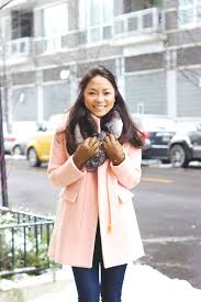 leather gloves pink coat faux fur collar leather gloves