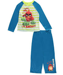 Angry <b>Birds</b> Big Boys Blue Cartoon Inspired <b>2 Pc</b> Pajama Set 8-10