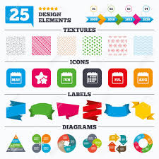 Offer Sale Tags Textures And Charts Calendar Icons May June