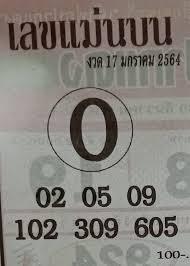 เลขแม่นบน 17 มกราคม 2564