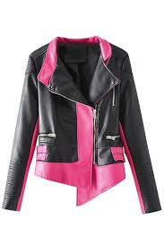 long sleeve zipper color block faux leather biker jacket rose red pink queen