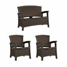 suncast elements wicker design loveseat with storage club chair java 2