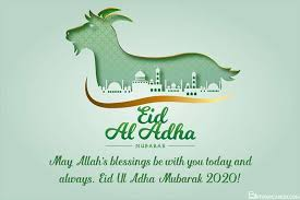 On this day muslims sacrifice (qurban) an animal, and divide into three parts, one part is distributed among the poors, second part is given to the relatives and third part is kept at home for own use. Islamic Eid Ul Adha Mubarak Greeting Cards For 2021