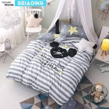 nordic 100 cotton grey white striped star bed linens twin cartoon mouse bedding set 3d duvet cover boy kids decor sheets single bedroom comforters sets