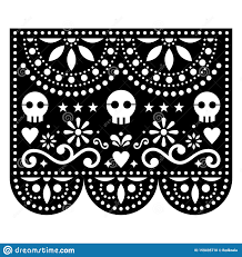 Papel Picado Designs For Day Of The Dead Halloween Papel Picado Design With Skulls Mexican Paper Cut