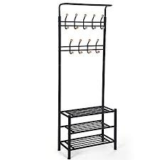 Coat Stand And Shoe Rack SONGMICS Height 100 cm Metal Hall Tree Entryway Organizer Multi 62