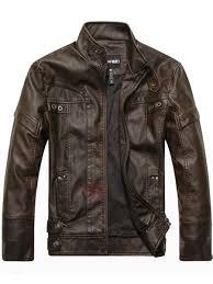 20 offstand collar plain pocket men s leather jacket