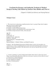 Brunner Suddarth 12 Edition Test Bank Brunner And Suddarths Textbook Of Medical Surgical Nursing