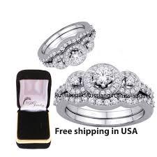 2 pc 2.60 Ct <b>AAA</b> CZ <b>Real 925 Silver</b> Wedding Engagement Ring ...