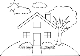In addition, the kid is carried away and does not bother his mother while she does her business. House Line Drawing Clip Art Sketch Coloring Page Coloring Pages House Colouring Pages Drawings