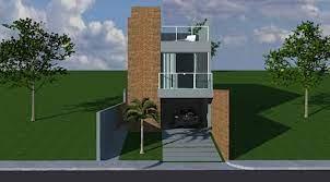 projetos e plantas de casas prontas para construir. Casa De Dois Quartos No Pequeno Terreno Em Aclive