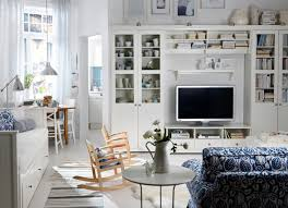 Living Room : IKEA Living Room Decorating Ideas In A Small Room Furnished  With White Cabinets And Shelves Plus Television Then A Small Round Table  With A ...