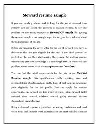 Hotel Steward Cv Resume Sample Free Download Vinodomia