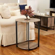 household essentials gray tone round double tier end table