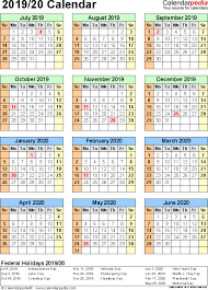 Split Year Calendars 2019 2020 July To June Excel Templates