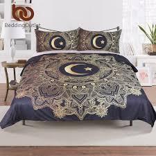 bedding 3 pcs golden mandala flowers star moon duvet cover black dark blue bedding set soft quilt cover single bed cover