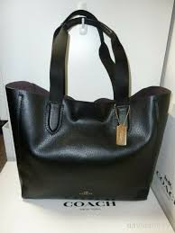 nwt coach f58660 derby tote in pebble leather black oxblood