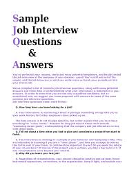 Resumes How To Answer Interview Questions Samples Sample And Answers