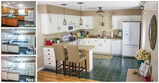 Kitchen Transformation White Cabinets Painted Counters with White