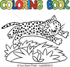 coloring book of little cheetah or jaguar csp23903313